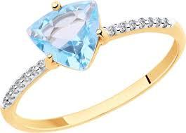 <b>Кольцо Diamant из золота</b> с топазом и фианитом — купить в ...