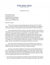 feinstein levin mccain letter to sony pictures entertainment    feinstein levin mccain letter to sony pictures entertainment regarding zero dark thirty �  movie city news