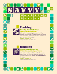 savvy workshop series campus involvement savvy workshop series flyer