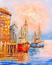Картина Экорамка Корабли у <b>причала</b>, Холст — купить в ...
