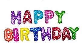 Junos <b>Happy Birthday</b> Letter Foil Balloon Set (<b>Multi Color</b>) 13 Letters ...