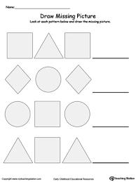 Kindergarten Patterns Printable Worksheets | MyTeachingStation.comDraw the Missing Shape to Complete the Pattern