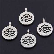 20pcs <b>Antique Silver</b> Color Lotus Flower Round Shaped <b>Alloy</b> ...