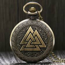 Vintage Triangle Valknut Norse Vikings Bronze <b>Quartz Pocket Watch</b> ...