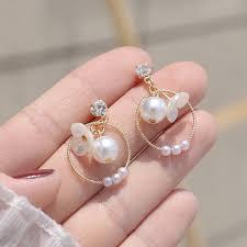 [<b>Ms</b>.Three]Korean trend S925 silver needle flower pearl <b>earrings</b> ...