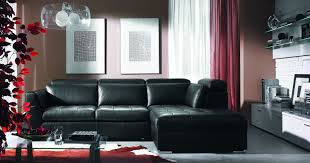 living room furniture spaces inspired:  living room living room ideas awesome black leather sectional l shaped couch feat red curtains
