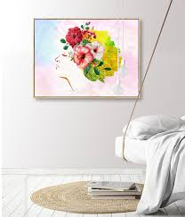 2019 <b>Abstract Girl Portrait</b> Bright Wreath Minimalist Wall <b>Canvas</b> ...