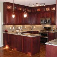 red kitchen island small cherry cabinets