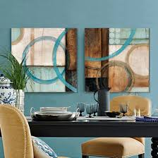 2 panel blue and brown circles modern abstract oil painting canvas wall art canvas print decorative blue brown home office