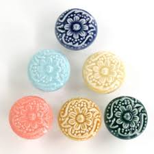 Assorted Vintage <b>Hand Painted</b> Ceramic Round Knobs <b>Kitchen</b> ...