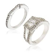Buy <b>2Pcs/Set Women's Luxury</b> Square Zircon Rings Engagement ...