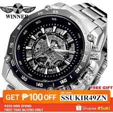 <b>WINNER Men</b> Brand <b>Military</b> Skeleton Stainless Steel <b>Watch</b> ...