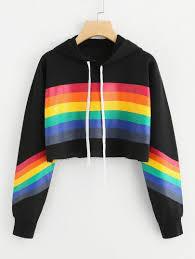 <b>Rainbow Striped</b> Print <b>Crop</b> HoodieFor Women-romwe | Roupas ...
