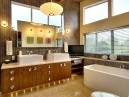 gorgeous mid century modern bathroom vanity design from wood wih crystal decoration and mounted sinks beneath bathroom lights mid century