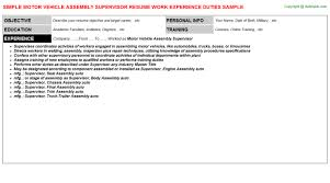 motor vehicle assembly supervisor resumejpg image format   motor vehicle assembly supervisor resume