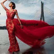 <b>Red Luxury</b> Mermaid Prom Formal Dresses With Detachable Train ...