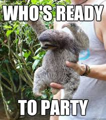 who's ready to party - Party Sloth - quickmeme via Relatably.com