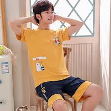 【Pyjamas】<b>2019 Summer</b> New Men's <b>Printed Short</b> Sleeved Cotton ...