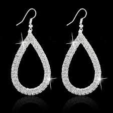 925 Sterling Silver Crystal Wedding <b>Long Earrings Hollow Out</b> ...
