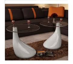 vidaXL <b>Coffee Tables 2 pcs</b> with Round Glass Top High Gloss ...