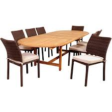 extension table f: amazonia sc diandlx lib noah  person teak patio double extendable oval dining set w stacking dining side chairs