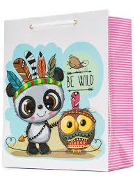 "<b>Пакет подарочный</b> ""Дикая панда и сова"" <b>18х23х10 см</b> ..."