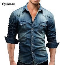 2019 <b>CYSINCOS Denim</b> Shirt <b>Men</b> Cotton <b>Jeans</b> Shirt <b>Fashion</b> ...