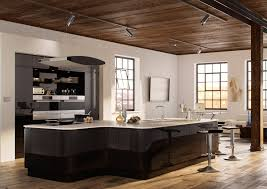 painted high gloss black kitchen cabinets