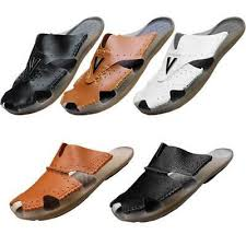 <b>Mens Outdoor Leisure Leather</b> Sandals Slippers Breathable Slides ...