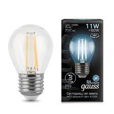 <b>Лампа</b> светодиодная <b>Gauss</b> E27 230 В 11 Вт шар прозрачная 750 ...