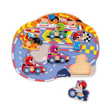 Happy Racing Puzzle <b>6 pieces</b> (<b>wood</b>) - Janod <b>Toys</b>