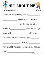 Fill In The Blank Worksheets For Kindergarten - all about me ...all about me worksheet all about me all about me worksheet and