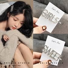 ins <b>Crystal</b> Rhinestone <b>Words Hairpin</b> Korean Bling <b>Hair Clip</b> ...