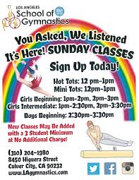 sunday gymnastic classes los angelesgymnastics school sunday classes