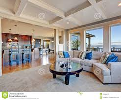 Luxury House With Open Floor Plan  Coffered Ceiling  Carpet And    Luxury house   open floor plan  Coffered ceiling  carpet and