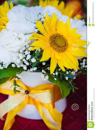 Bridal Bouquet With <b>Yellow Sunflower</b> And <b>Peonies</b> Stock Image ...