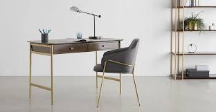 Bortolin <b>Desk</b>, <b>Mango Wood</b> and Brass   MADE.com