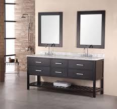open bathroom vanity cabinet: bathroom bathroom black white trough bathroom sink with two faucets and long shelf x
