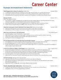 example accomplishment statements career center example accomplishment statements dukeengage intern austin foundation seattle wa summer 2010 additional accomplishment statement examples