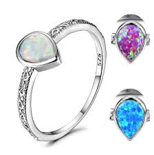 <b>Blaike</b> Luxury <b>925 Sterling Silver</b> Water Drop White Fire Opal Rings ...