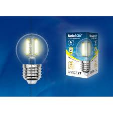 Светодиодная <b>лампочка Uniel LED</b>-G45-6W AIR UL-00002203 в ...
