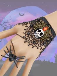 [32% OFF] <b>Halloween Party Skull Lace</b> Spider Ring Bracelet | Rosegal