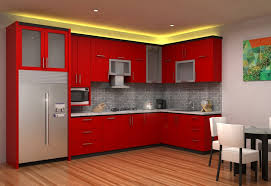 modular kitchen colors: modular kitchen red colour combination pictures