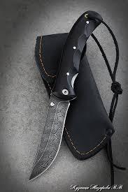 <b>Нож складной</b> Корсак сталь дамаск накладки черный граб