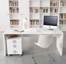 tidy white bookshelves and small amusing corner office desk elegant