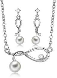 <b>Women Imitation Pearls Pendant</b> Necklace Earrings Jewelry Set for ...