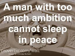 "Proverb of the day ""A man with too much ambition cannot sleep in ..."