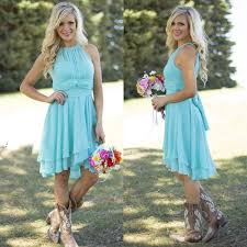 2016 <b>Hot Sale</b> Country Style <b>Turquoise</b> Bridesmaid Dresses Crew ...
