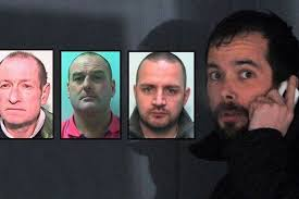 Stephen Eatherall (main image), whose Range Rover was used in a crash-for-cash scam, and (inset, l-r) plotters Richard Beswick, Craig Phillips and John Cody - C_71_article_1472250_image_list_image_list_item_0_image