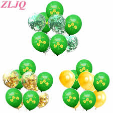 <b>ZLJQ</b> Shamrock Green Confetti Balloons Leprechaun Decoration ...